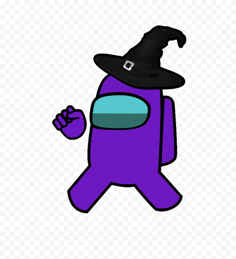 Hd Purple Among Us Crewmate Character With Witch Hat Png Purple Background Images Witch Hat Png