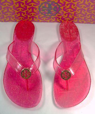 34c0b56afa0e Tory Burch Thora ISLAND PINK Sparkle Jelly Flip Flops 9