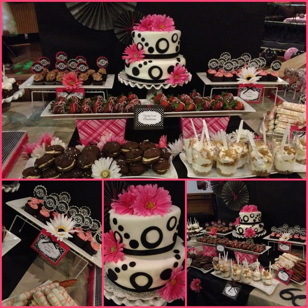 Pink And Black Color Theme Dessert Table