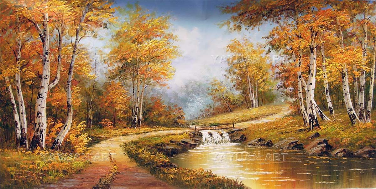 Birch forest scenery special offer oil painting white for Oil painting scenery