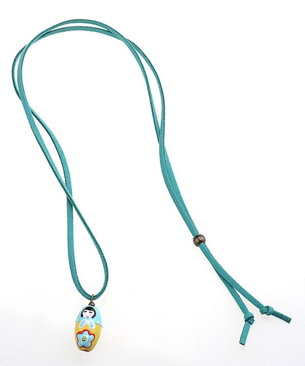 Blue Doll Charm Necklace