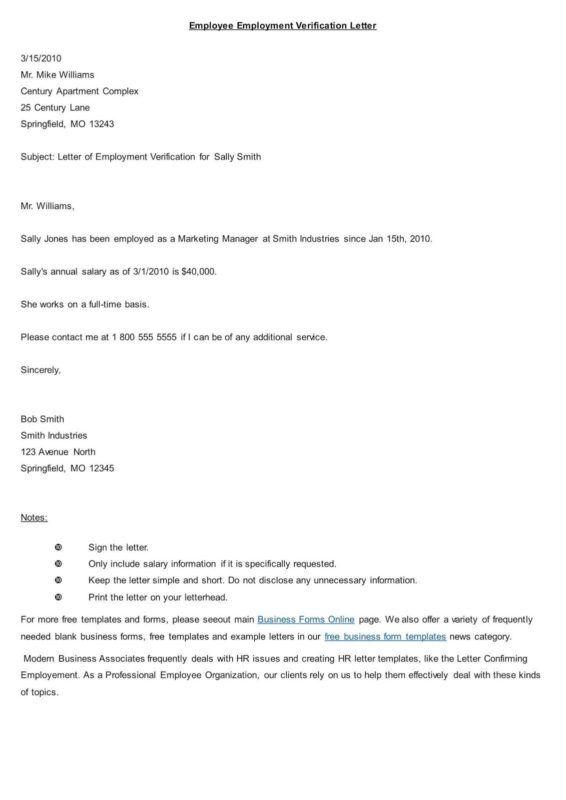 Top 10 Employment Verification Letter Form Template
