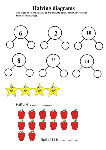 Halving worksheet year 1/2 | Primary: Fractions | Pinterest ...