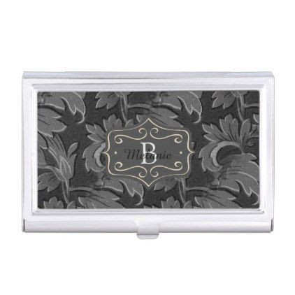 Personalised vintage black and white leaf pattern business card case personalised vintage black and white leaf pattern business card case antique gifts stylish cool diy reheart Choice Image