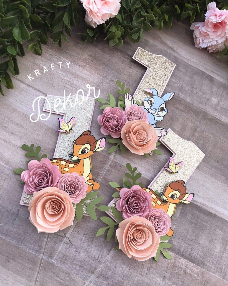 Bambi cake topper One year old cake topper bambi Floral ...