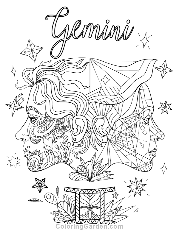 Free printable Gemini adult coloring page. Download it in PDF format ...