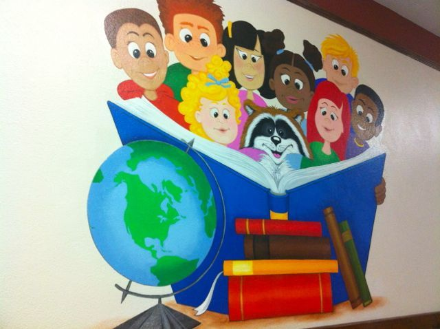Library murals library art pinterest elementary for Library painting ideas