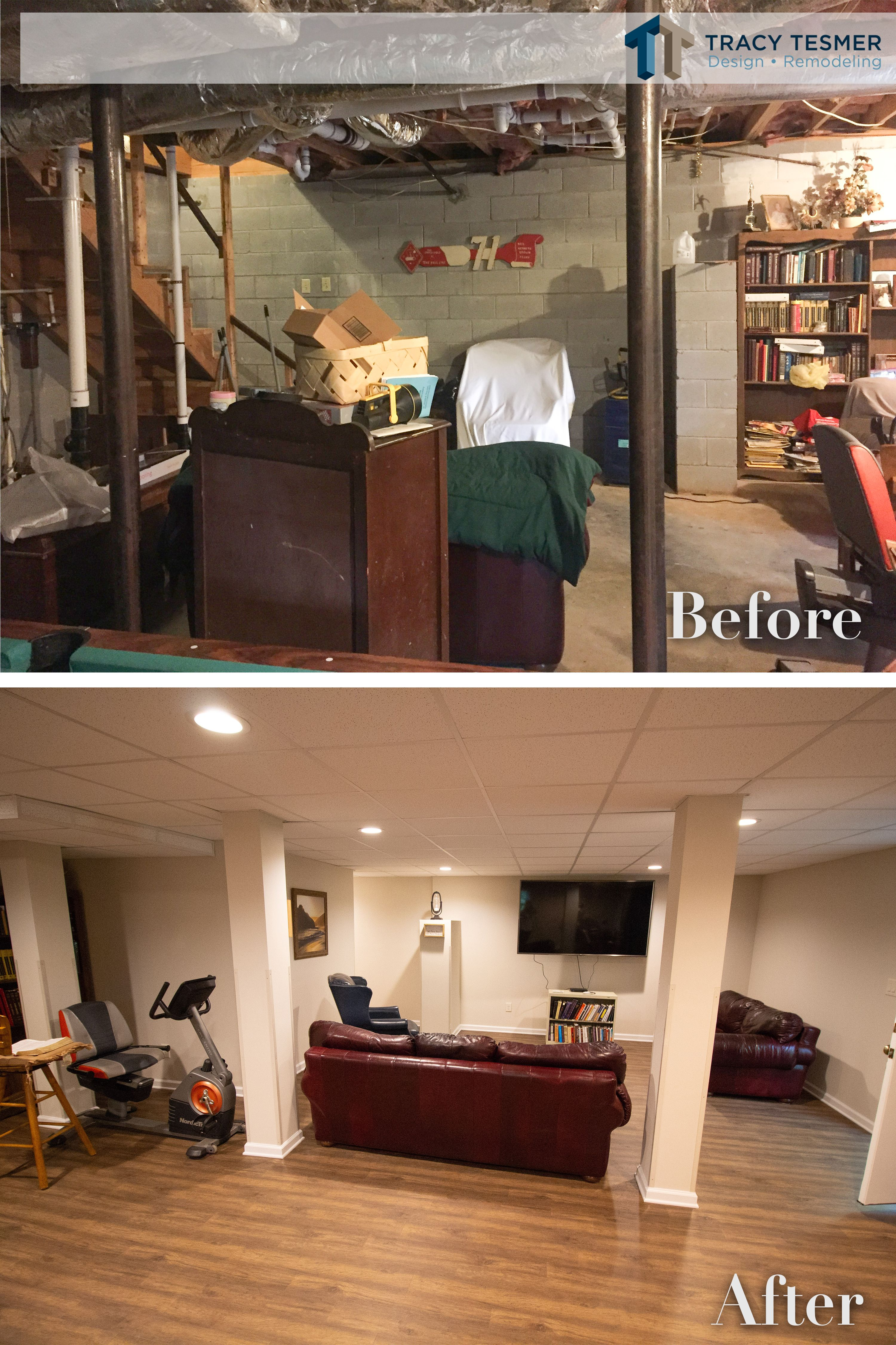 From Unfinished To Finished This Basement Transformed Into A