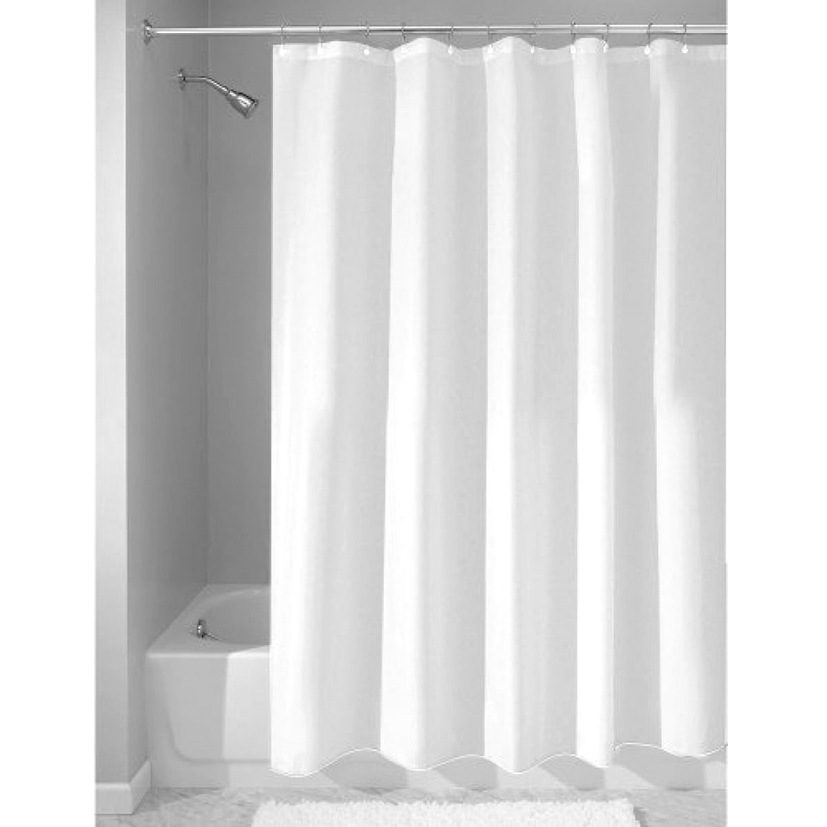 Shower curtain liner white waterrepellent mildewfree fabric x