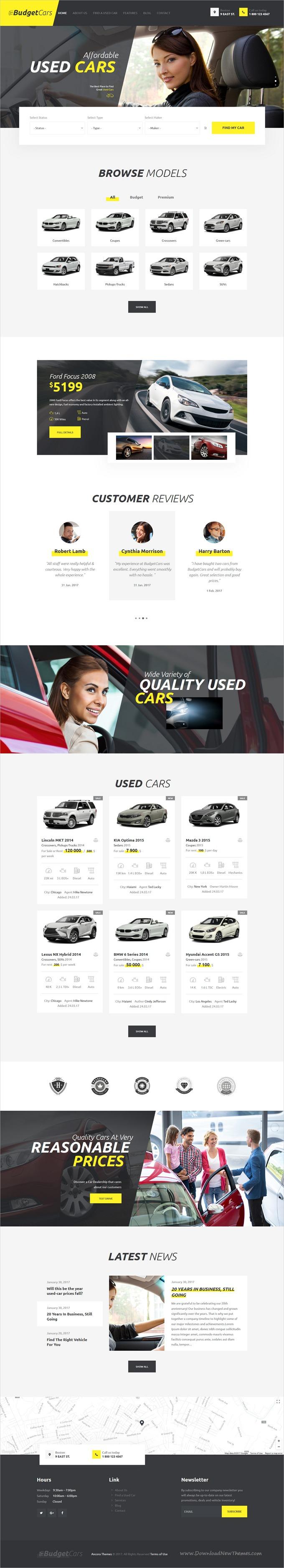Budget Cars Used Car Dealer & Rental WordPress Theme