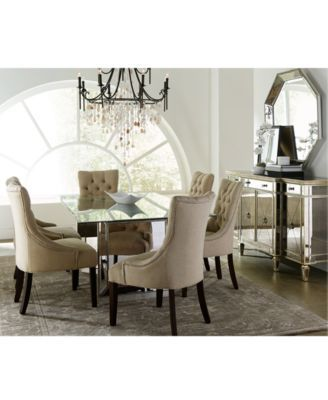 Sophia Mirrored Dining Room Furniture Collection With Tufted Chairs
