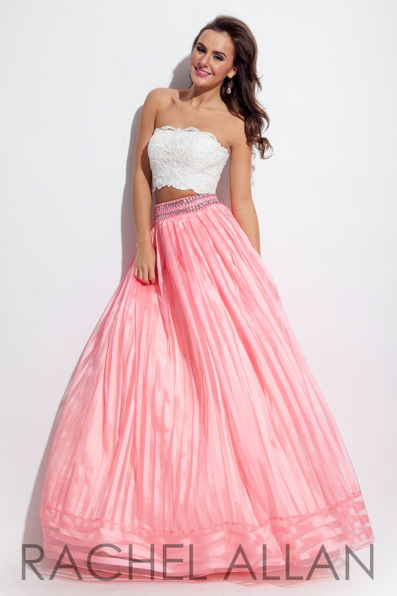 Rachel Allan 7094 - Two piece ball gown with lace top and vertical ...