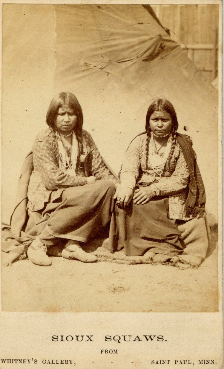 Photograph Two Sioux Females Sitting At The Front Of A Tent They