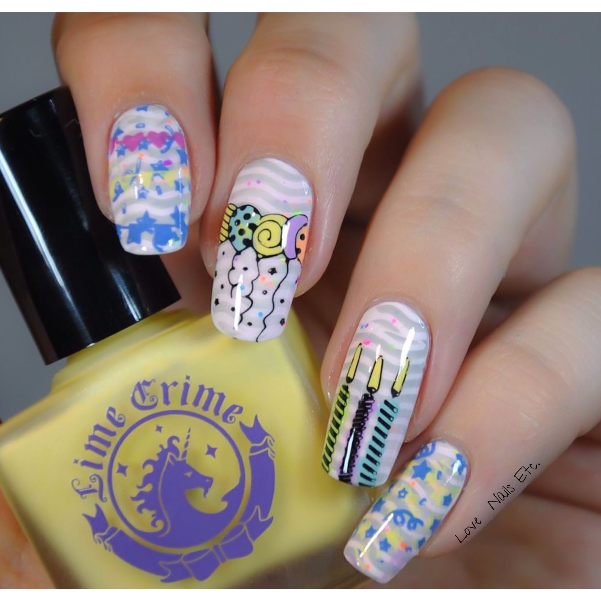Stamping Master Stamping Nail art Happy birthday Lime crime Moyou ...