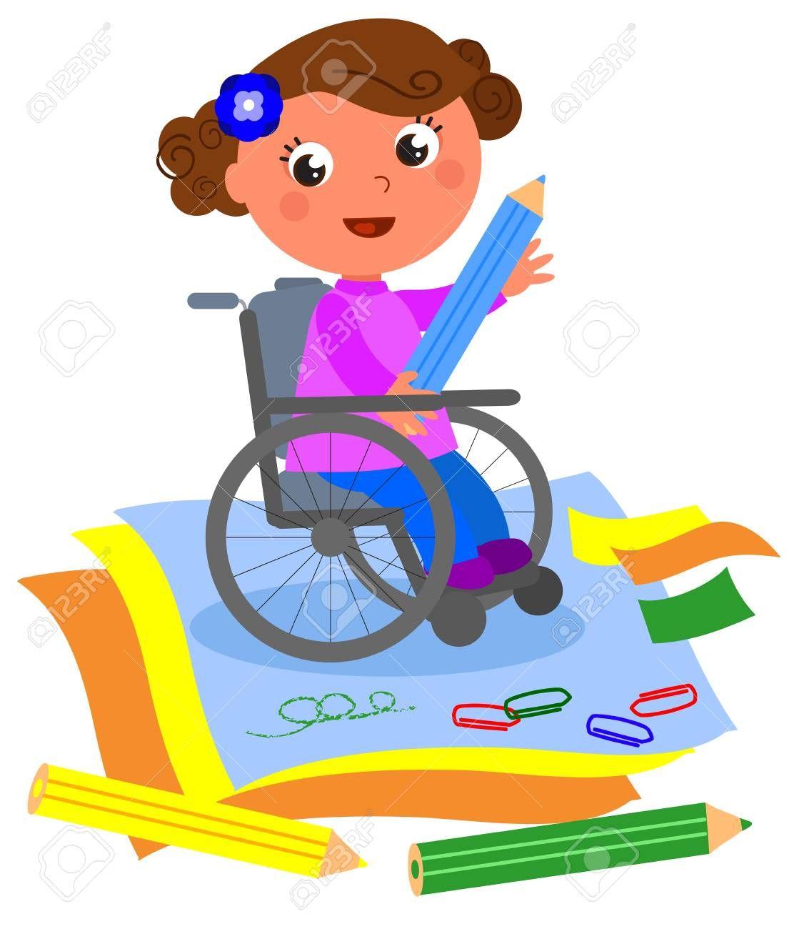 Ninas En Silla De Ruedas Buscar Con Google Cartoon Illustration Blue Crayon Photo Craft