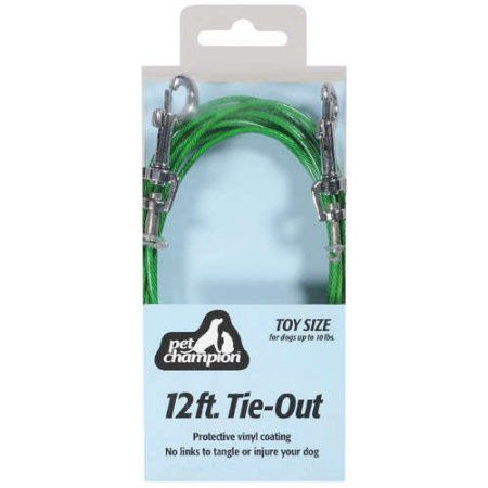 Pet Champion 12' Small Dog Tie Out, Green