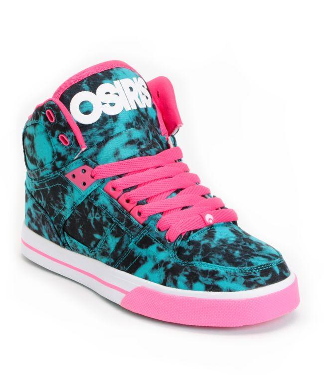 077fe91a Osiris NYC 83 Slim Teal, Pink & White Shoes | shoes | Osiris shoes ...