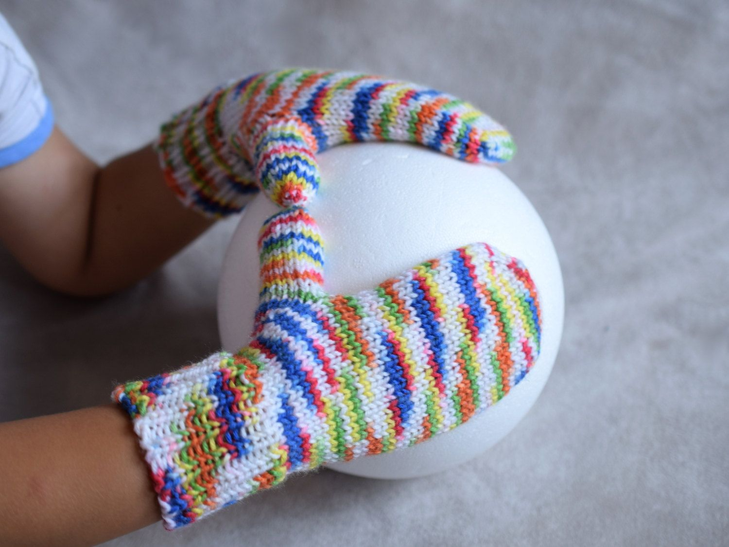 Colorful kids mittens, hand knit toddler gloves, thumbless baby ...