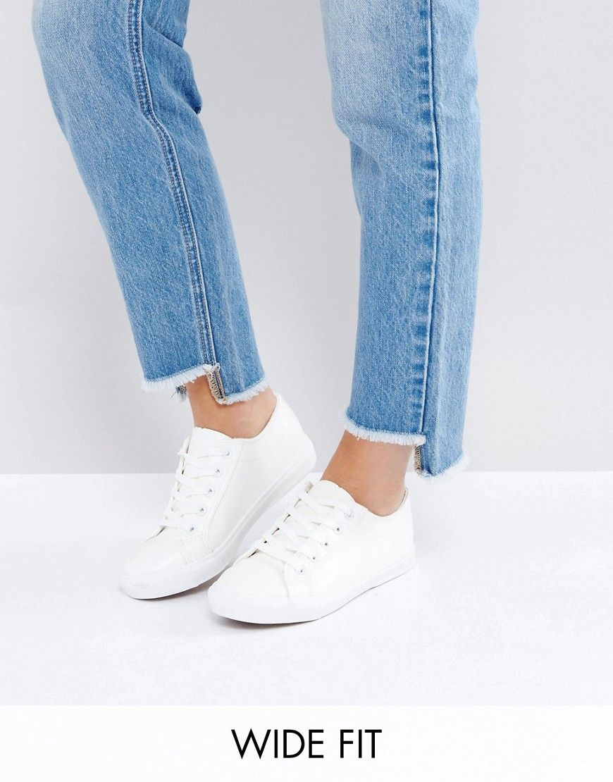 Get this New Look Wide Fit's low sneakers now! Click for more details. Worldwide shipping. New Look Wide Fit Lace Up Trainer - White: Trainers by New Look, Faux-leather upper, Lace-up fastening, Chunky sole, Contrast textured tread, Wide fit, Wipe clean. Offering irresistible fashion and fast off the catwalk styles, New Look joins the ASOS round up of great British high street brands. Bringing forth their award-winning clothing collection of dresses, jeans and jersey basics alongside a…