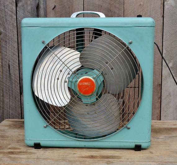 aqua box fan mid century wizard breeze box light blue aluminum