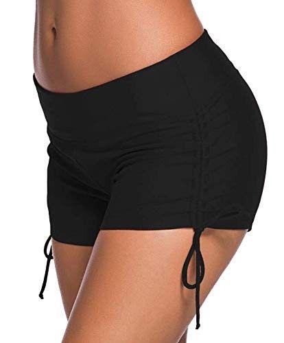 Solid swimming diving bikini bottom swimwear shorts for girls & ladies-Black-Medium - C411AIM3SI7 -...
