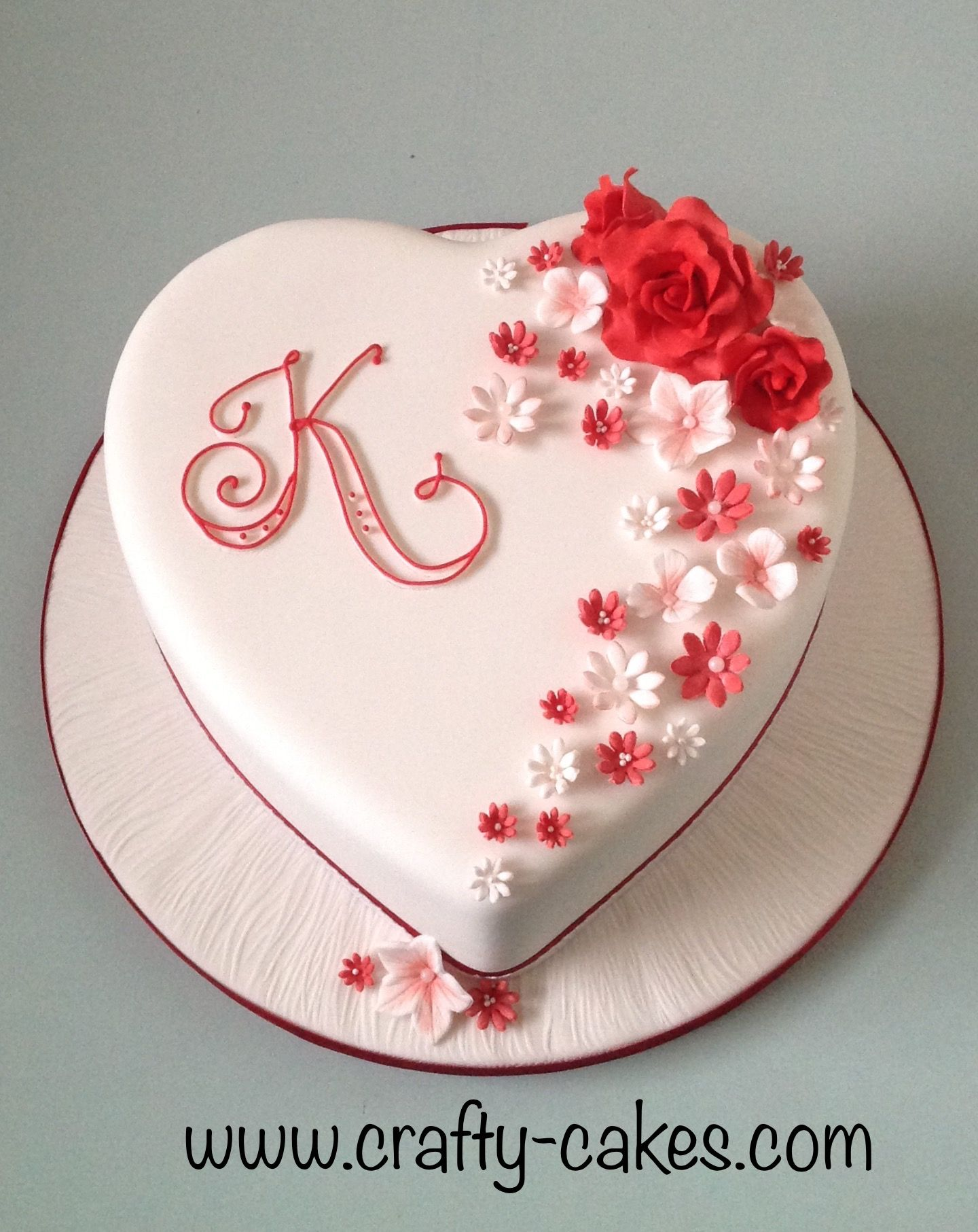 Heart Shape Red White Cake With Sugar Flowers With Images