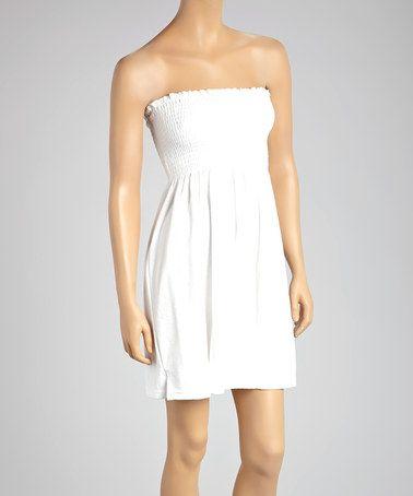 792bbff6de White Smocked Terrycloth Strapless Cover-Up - Women   Plus by Raya Sun   zulily  zulilyfinds
