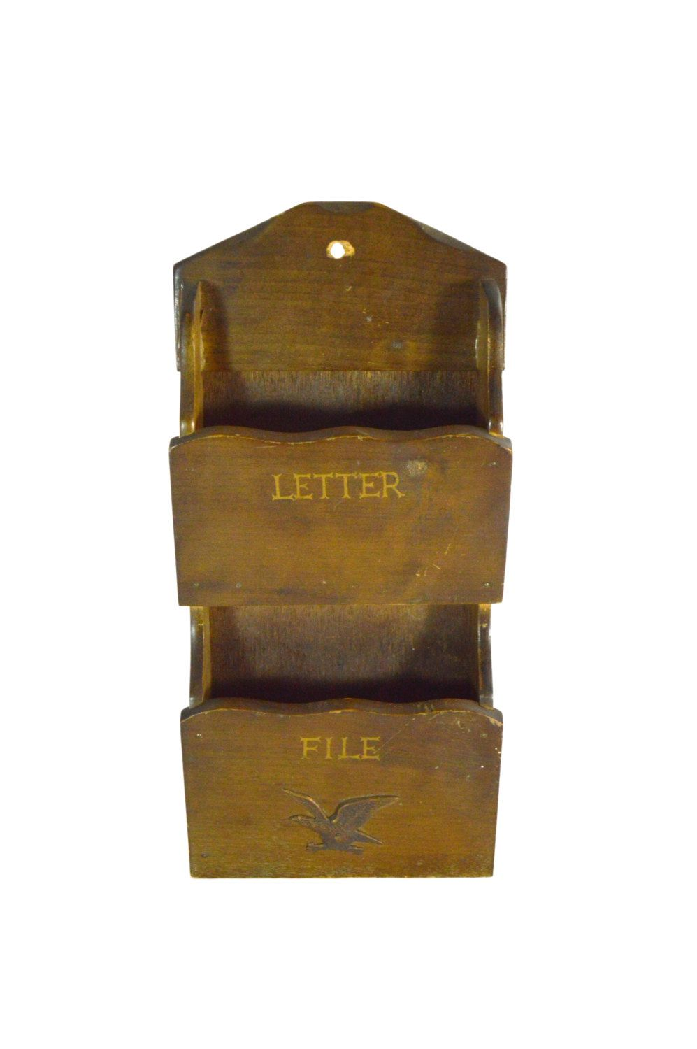 letter holder wooden wall hanging mail caddy colonial early