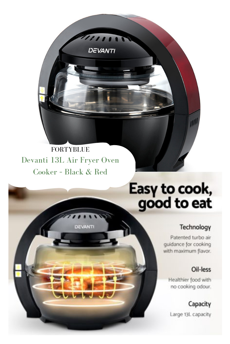 Devanti 13L Air Fryer Oven Cooker Black & Red Oven