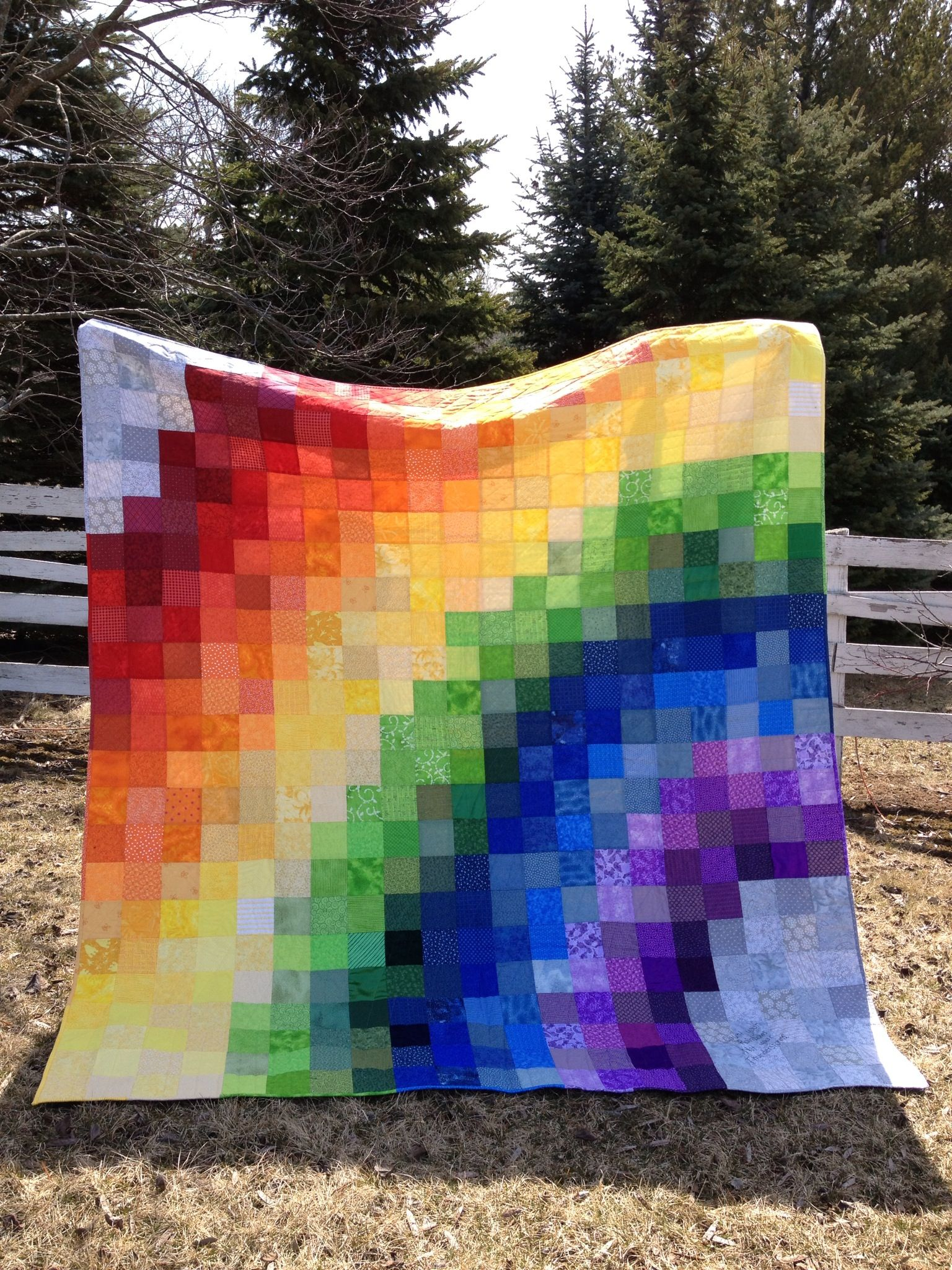 Rainbow quilt for my sister | Rainbow quilt, Quilts, Pixel ...