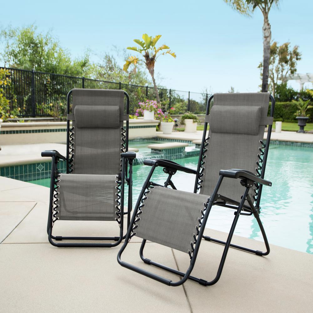 Caravan grey metal infinity zero gravity patio chair pack products
