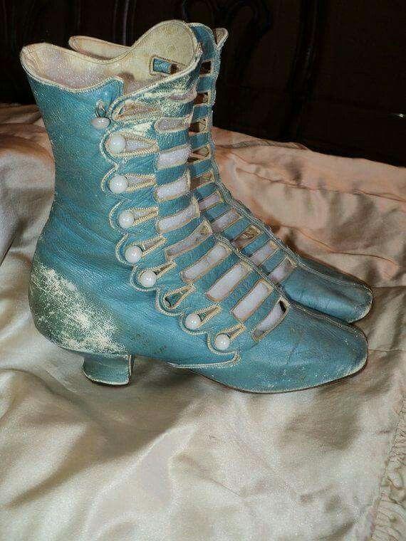 Robins Egg blue High boot Victorian, ca 1880 - 1890