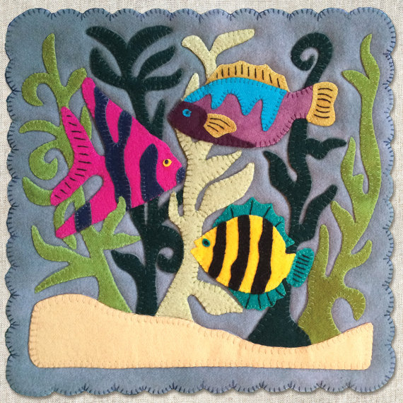 "PATTERN - ""Tropical Fish"" Block of the Month wool applique' quilt block or table mat."