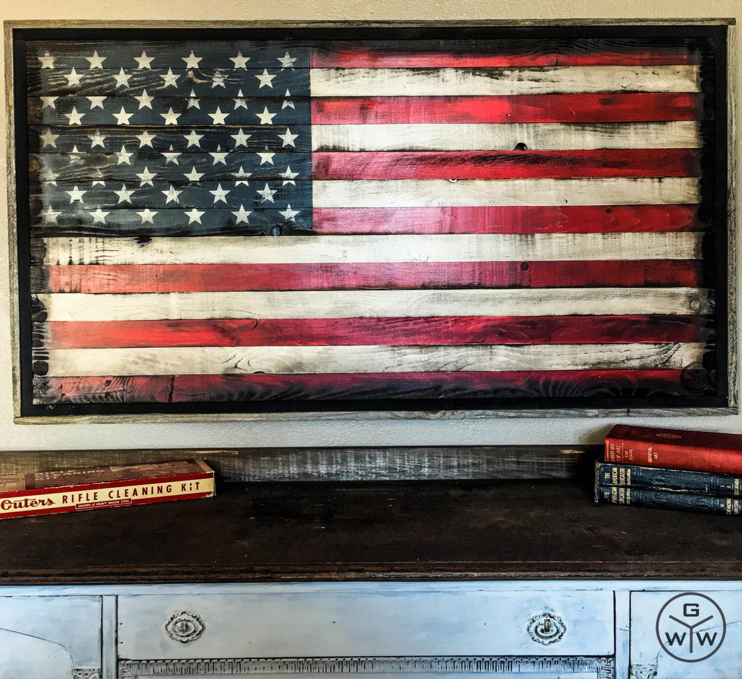 Bon Wood American Flag // American Flag Wall Art // American Flag Wood //