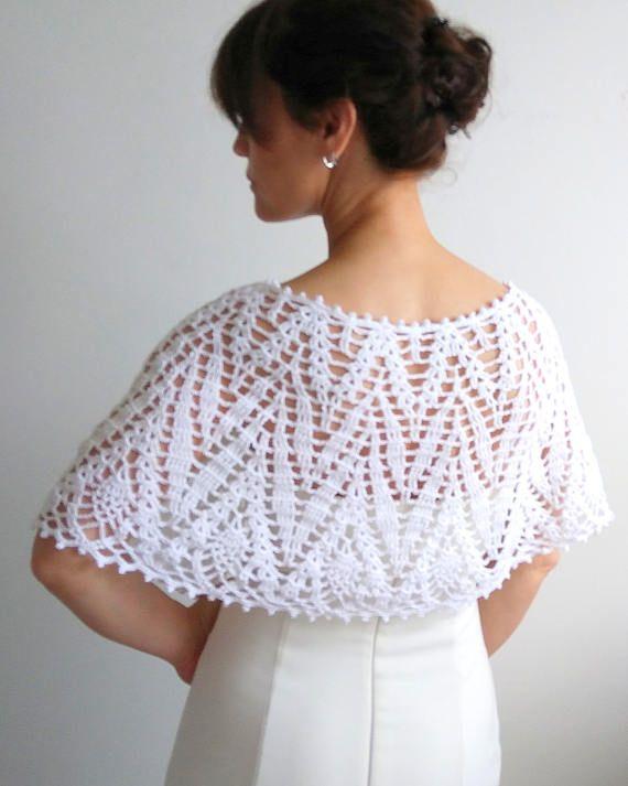 Blanca capa crochet envoltura boda cabo poncho lacy estola | Blusas ...