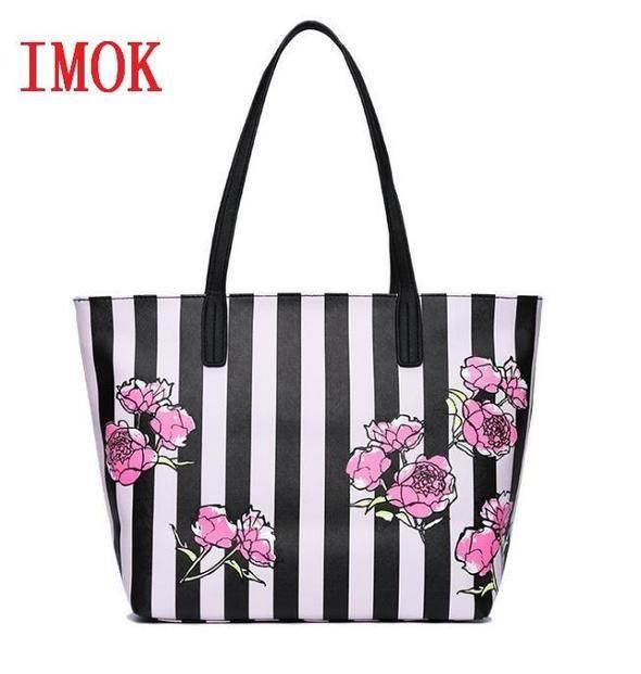 Hot Love pink girl travel duffel bag women Travel Business Handbags beach  rose Flower stripe shoulder bag large capacity bags 221eb9b69f900