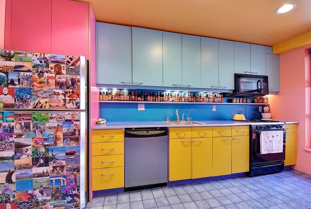 Colorful kitchen features modern conveniences dishwasher