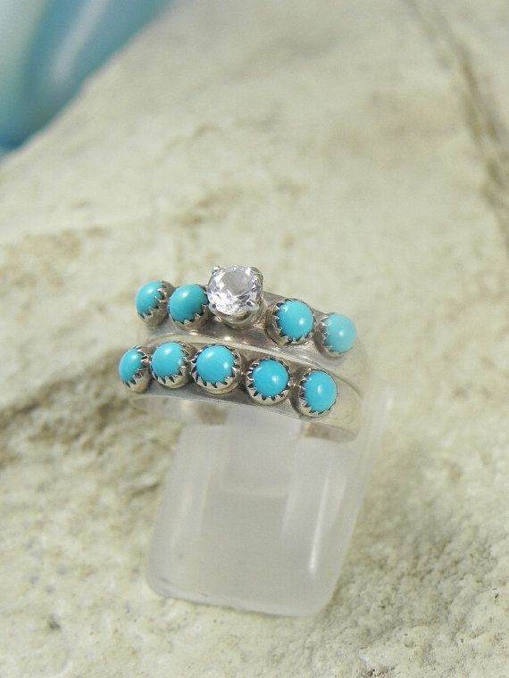 Native American Indian Navajo Wedding Rings Band Turquoise CZ