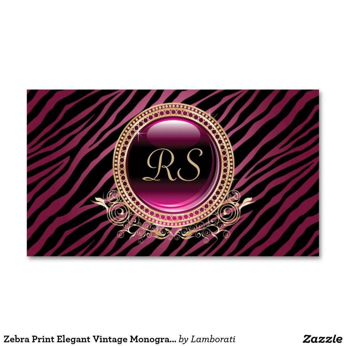 Zebra Print Elegant Vintage Monogram Gold Purple Business Card ...