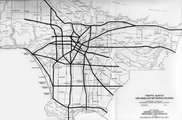 Los Angeles Freeway Traffic Map.L A S First Freeways Classic Pictures Map City Landscape Los