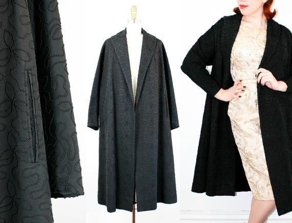 7204f25d548531 Vintage 1950s swing coat . Raven's Wood . 50s black faille coat ...