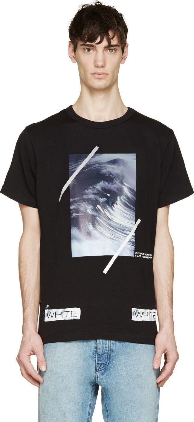 338feb540ae Off-white  Black  amp  Purple Wave Print T-Shirt Fashion Graphic