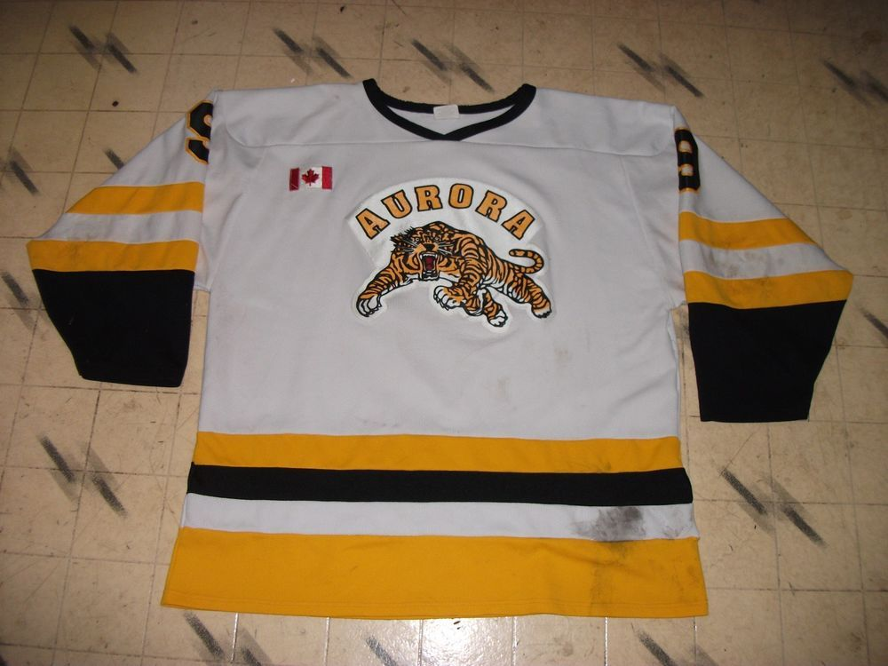 VINTAGE CANADIAN MINOR REC BEER LEAGUE GAME USED HOCKEY JERSEY AURORA  TIGERS f11e8abab8c