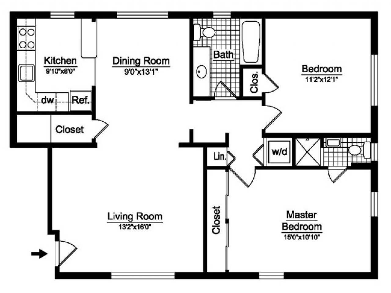 2 Bedroom 1 Bath Open Floor Plans Savae Org