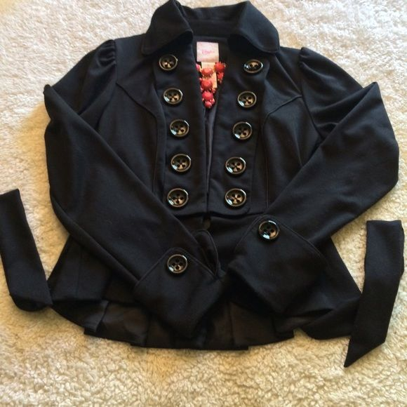Black military inspired jacket Black jacket with hook closure in the front and detachable tie around belt. Oversized cuffs with button details and black button details run both sides of front of jacket. Polyester rayon blend and jacket has some overall piling Candie's Jackets & Coats