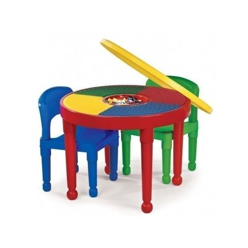 Kids Round Table Chairs Building Blocks Set 2+ Tot Tutors Preschool ...