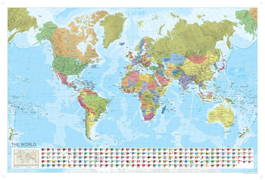 World Political Laminated Wall Map With Flags By Marco Polo Travel - Buy wall map of the world