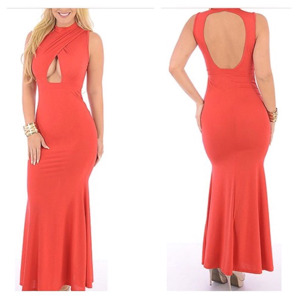New coral cut out front and back sleeveless mermaid maxi dress size