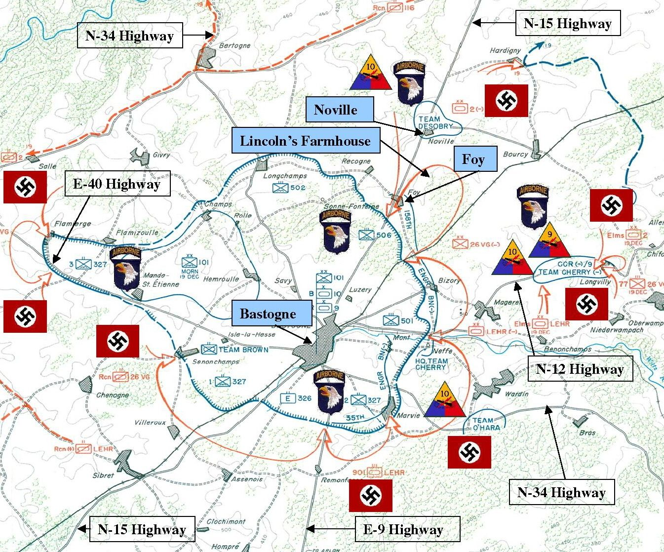 Bastogne december 18 20 1944 belgium world war 2 images map of bastogne foy and noville find this pin and more on world war 2 gumiabroncs Image collections