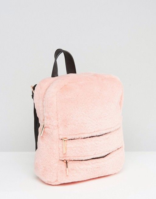 Skinnydip Blush Faux Fur Double Zip Backpack